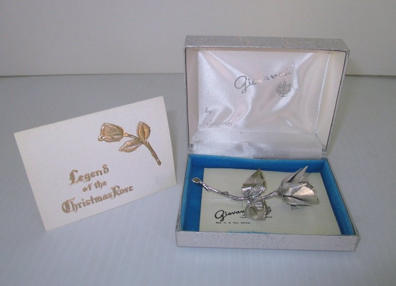 giovanni legend of the christmas rose  silver lapel brooch