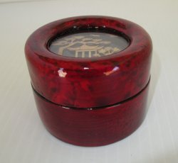 Lacquered Chinese Jewelry Trinket Box, Bamboo Shavings Art