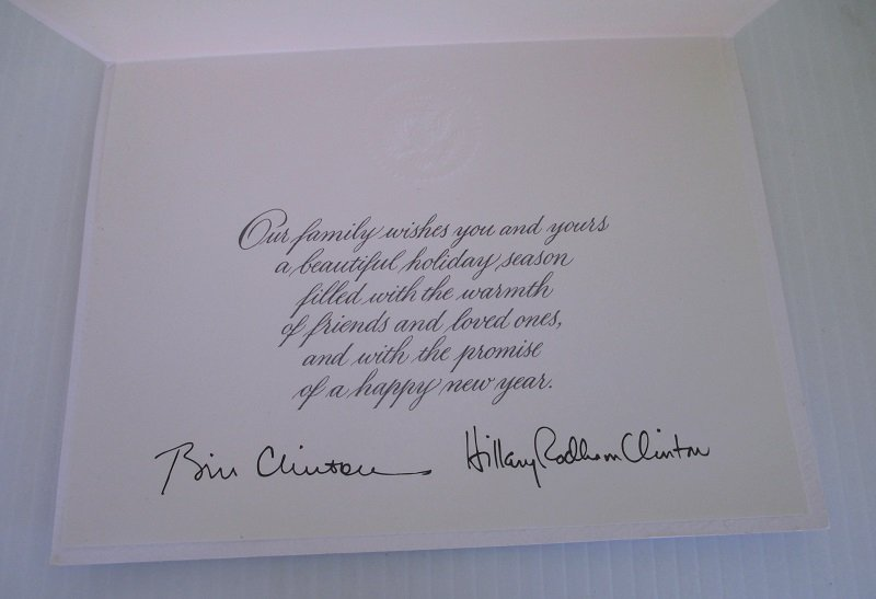 White House Washington D.C. Holiday Christmas card. Signed by Bill and Hillary Rodman Clinton. Most likely machine signed. Dated 1997.