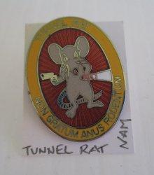 1 Tunnel Rat Insignia Pin, Non Gratum Anus Rodentum, Vietnam