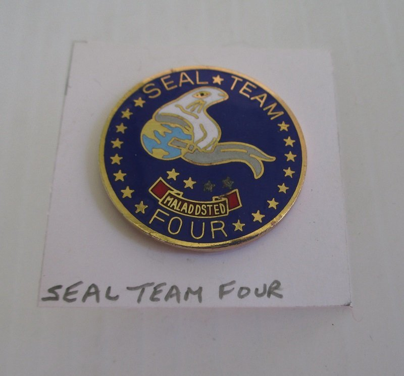 Insignia pin with the Seal Team Four logo. Seal Team Four is part of the Special Operations Force headquartered out of Little Creek Virginia.