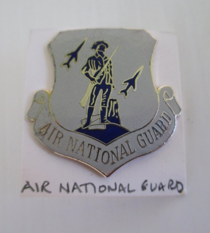 Shield and scroll shaped insignia pin representing the Air National Guard. Minuteman and rockets. 1.25 inch.
