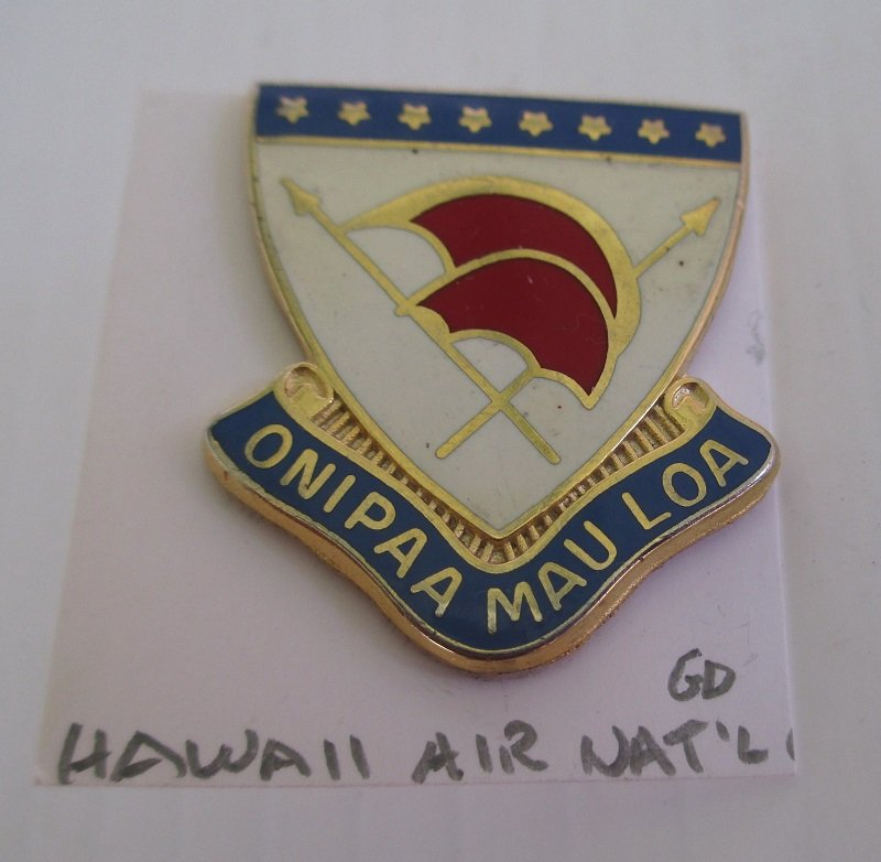 This Hawaii National Guard insignia pin has the logo