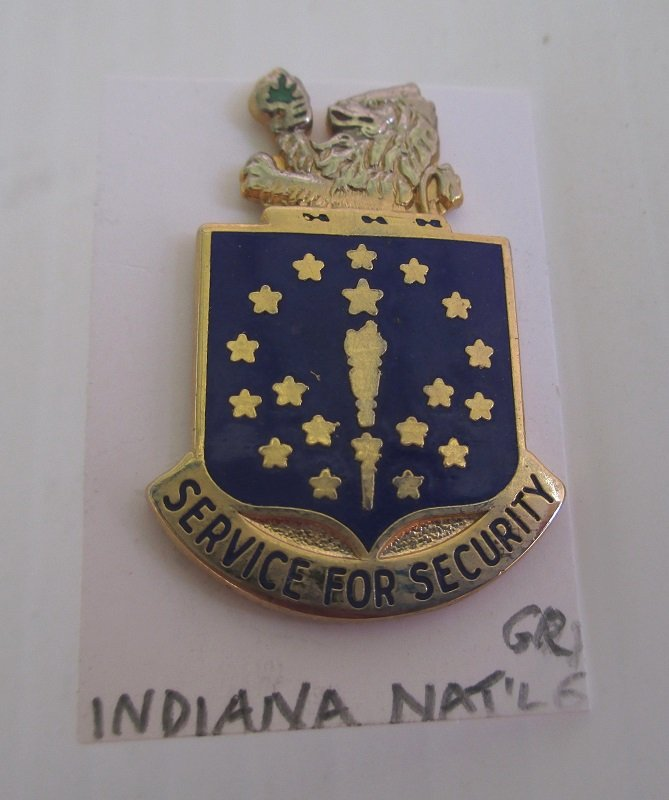 This Indiana National Guard insignia pin has the logo