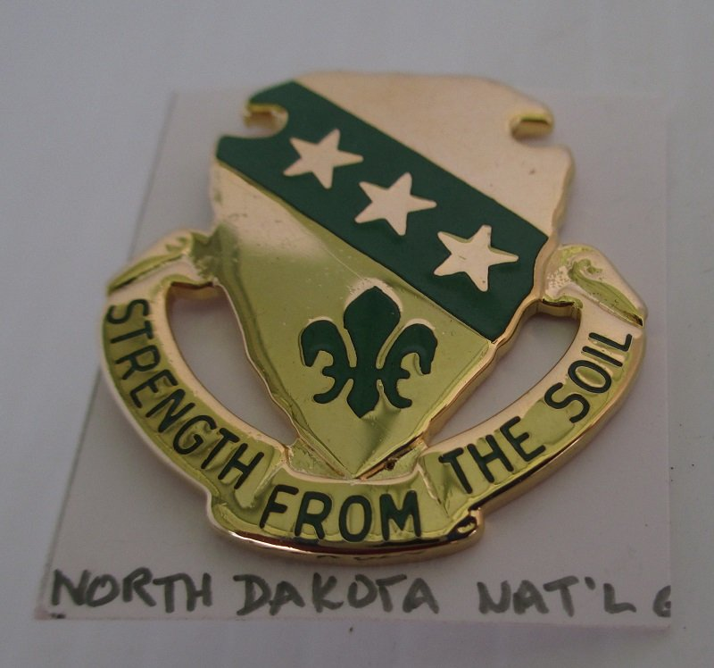 This North Dakota Air National Guard ARNG insignia pin has the motto