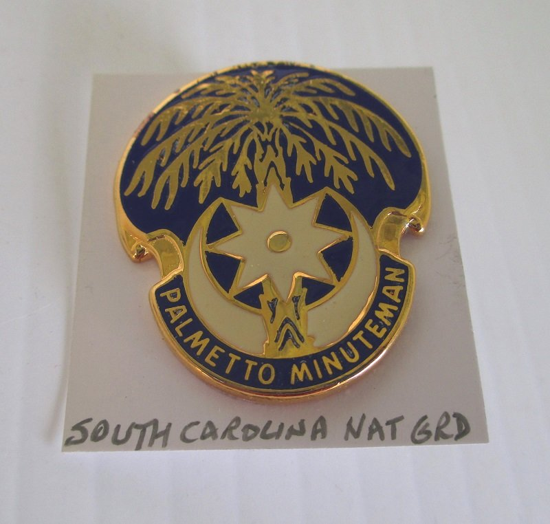 This South Carolina National Guard insignia pin has the motto