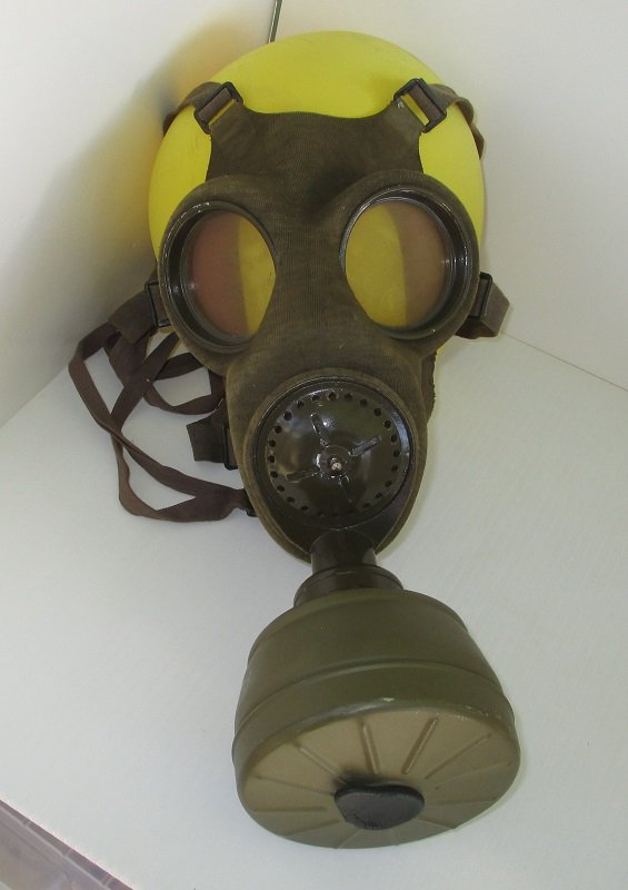 Circa 1937 gas mask made in Czechslovakia. Marked FATRA 1, 1A. Used until late 1945. Includes canister marked CMP. WWI WWII.