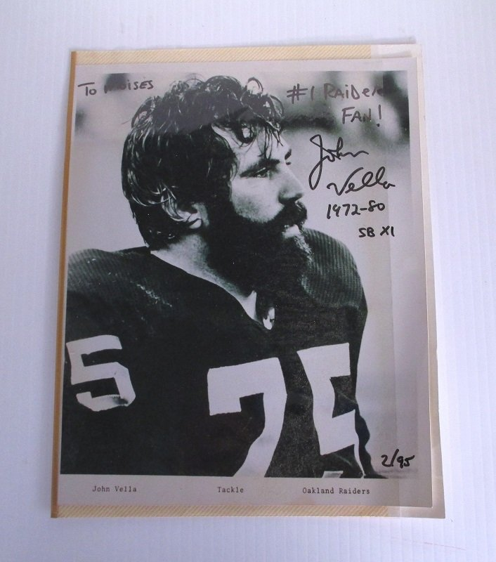 Signed autographed 8 by 10 photo of Oakland Raiders John Vella. John played from 1972 to 1980 and participated in Superbowl XI.