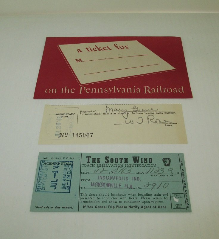 Envelope, tickets dated 1943 on Pennsylvania Railroad South Wind Train between Indianapolis Indiana and Jacksonville Florida. Purchased by Mary Greve