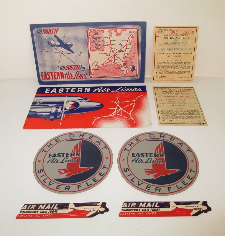 Mrs Greve's Vintage Eastern Airlines tickets stickers labels. Flight was between Florida and Indianapolis Indiana in July of 1943. Stickers never used