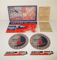 Vintage 1943 Eastern Airlines items, Tickets Stickers Labels