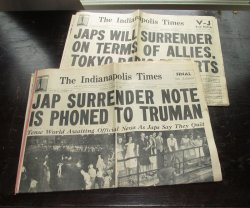 Indianapolis Star August 14 1945 WWII Ends, 2 Extra Editions