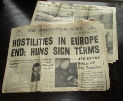 Indianapolis News, May 7, 1945, WWII Europe Hostilities End