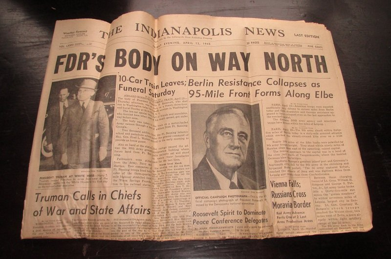 Indianapolis Indiana News dated April 13, 1945. It announces the death of President Roosevelt during WWII and discusses funeral arrangements.