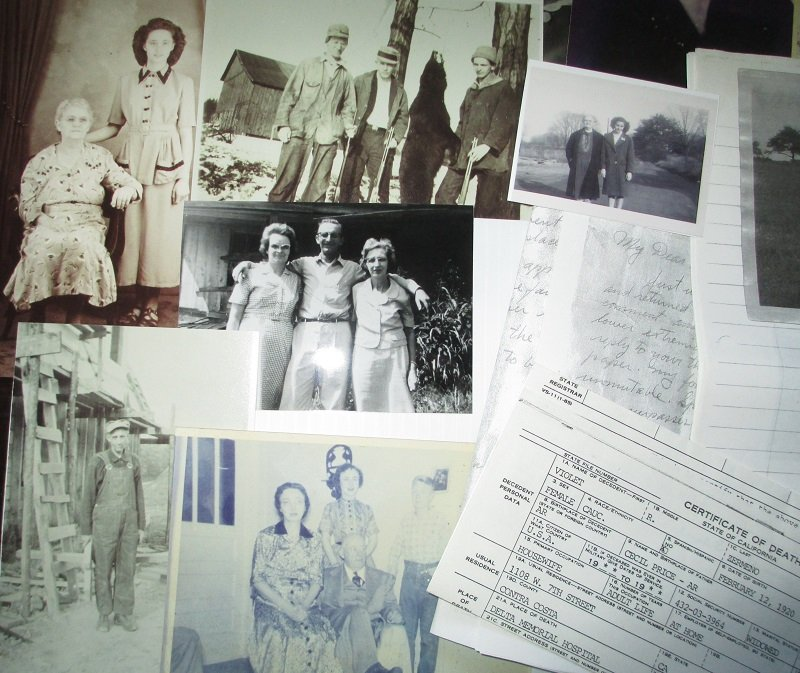 Photos and paper items related to genealogy of the States, Irwin, Hartzell, Harmon, Price, and other families. Even a love letter and a lock of hair.