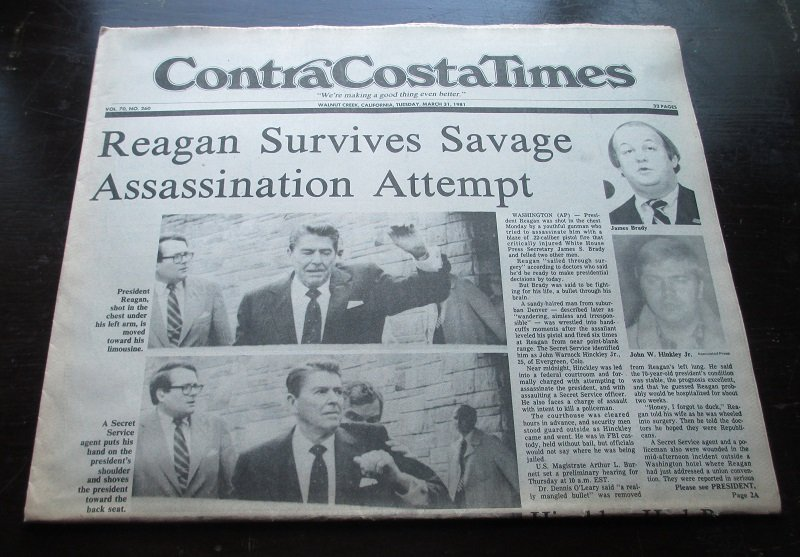 Contra Costa Times newspaper from March 31, 1981. Headline reads President Ronald Reagan Survives Savage Assassination Attempt