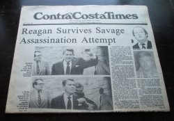 Contra Costa Times CA, March 31, 1981, Reagan Shot
