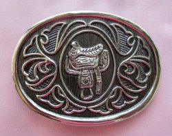 Avon Belt Buckle, Silvertone with Saddle, New
