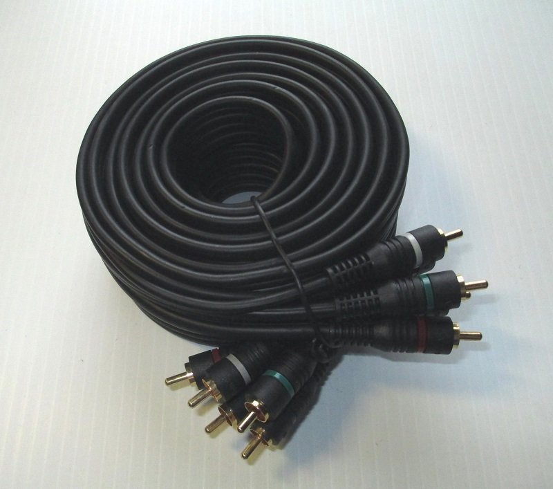 5 Conductor HDTV Patch Cable. 12 foot with color coded gold colored ends. Number ASB4700-12. All Systems Broadband.