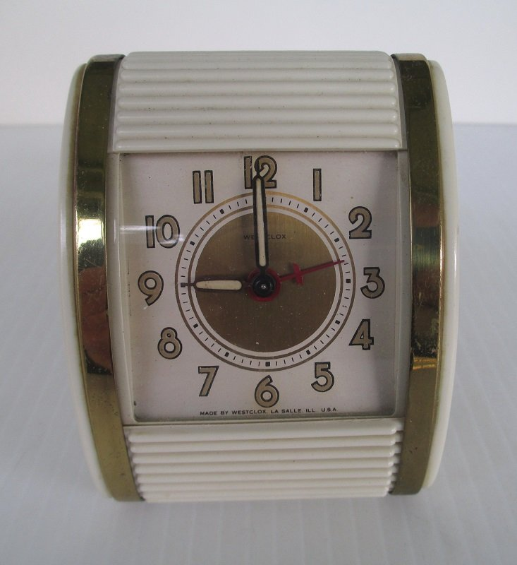 Westclox roll top travel alarm clock vintage art deco Art deco alarm clocks