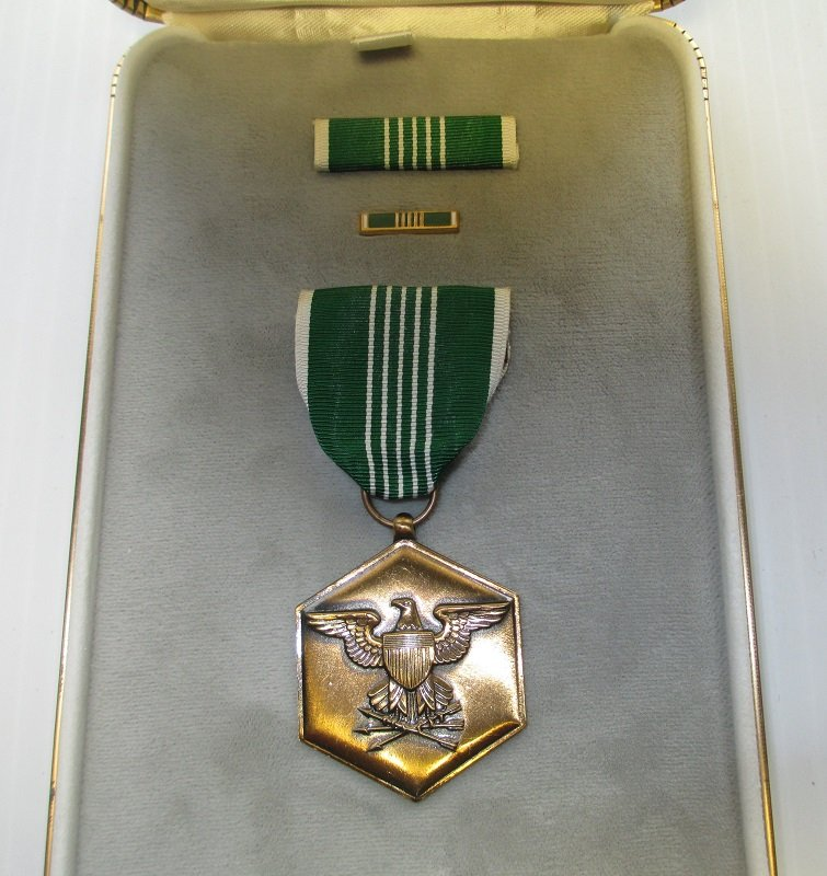 3 piece United States Military Medal award set. Consists of Medal, Ribbon Bar, and Lapel Pin. Comes in plush leather case. Date range 1941 to present.