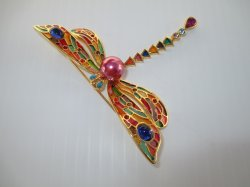 Joan Rivers Dragonfly Brooch Pin, Plique A Jour, Cloisonne