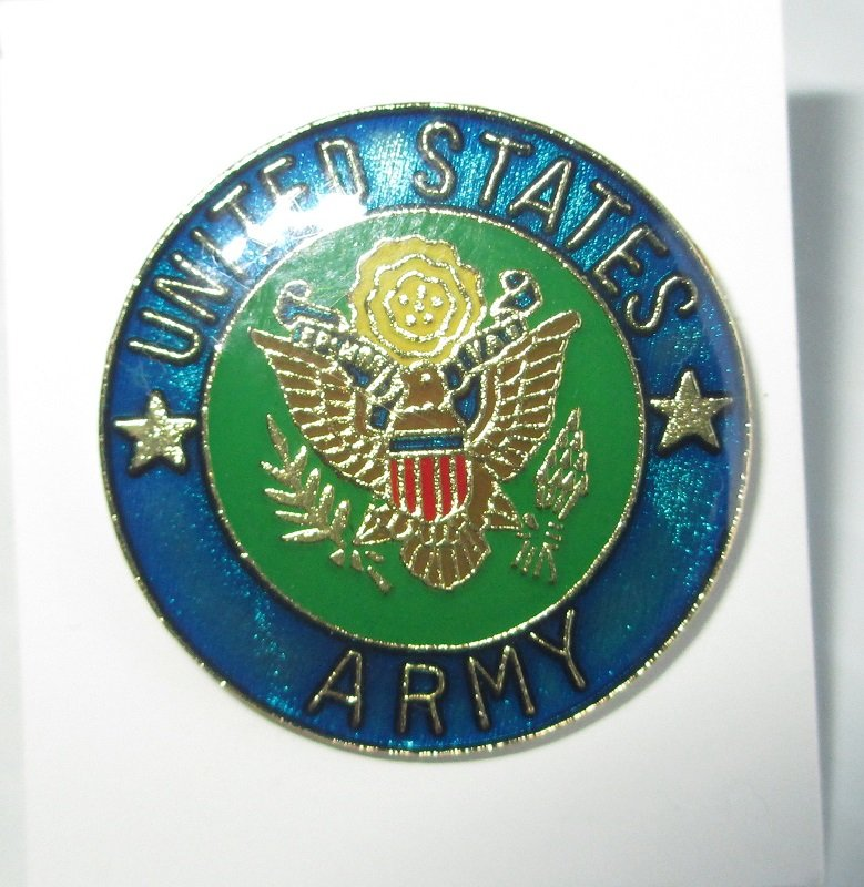 U.S. Army Official Seal Enamel and Brass Insignia pin. Deep blue green in color. Measures 1 inch across the face. Unmarked and unknown date.
