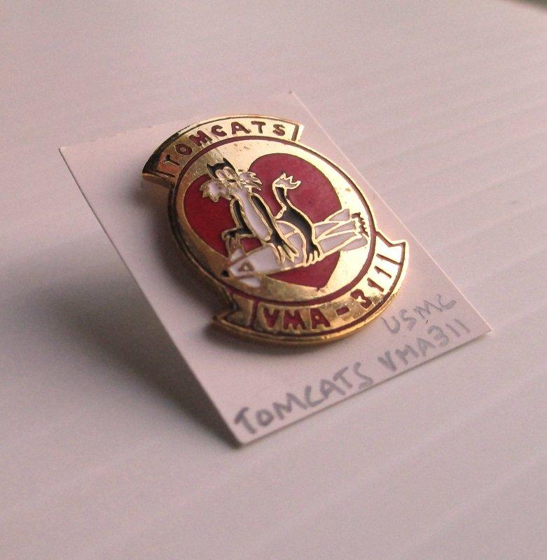 U.S. Marine Corps Tomcats VMA-311 Attack Squadron Enamel and Brass Insignia pin. Unknown date. Estate purchase.