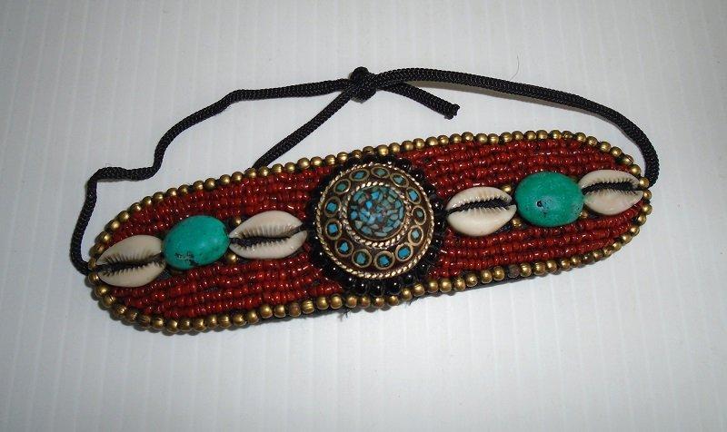 Native American Handmade Hairband Turquoise Beads Shells