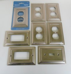 Brainerd Satin Nickel Wall Plate, Qty of 8 GFI Duplex Switch