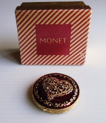 Monet Jeweled Double Mirror Compact, 1980s Never Used