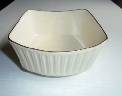 Lenox Cadence Collection 5 inch Square Bowl, Gold Rims 1960s