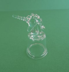 '.Clear glass unicorn thimble.'