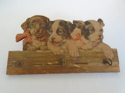 Antique Wall Plaque Key Holder with Litho of Puppies