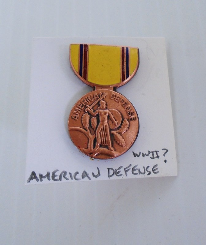U.S. American Defense insignia pin. Enamel and cloisonne design. Possibly WWII time frame. Worn on Army Uniforms and caps.