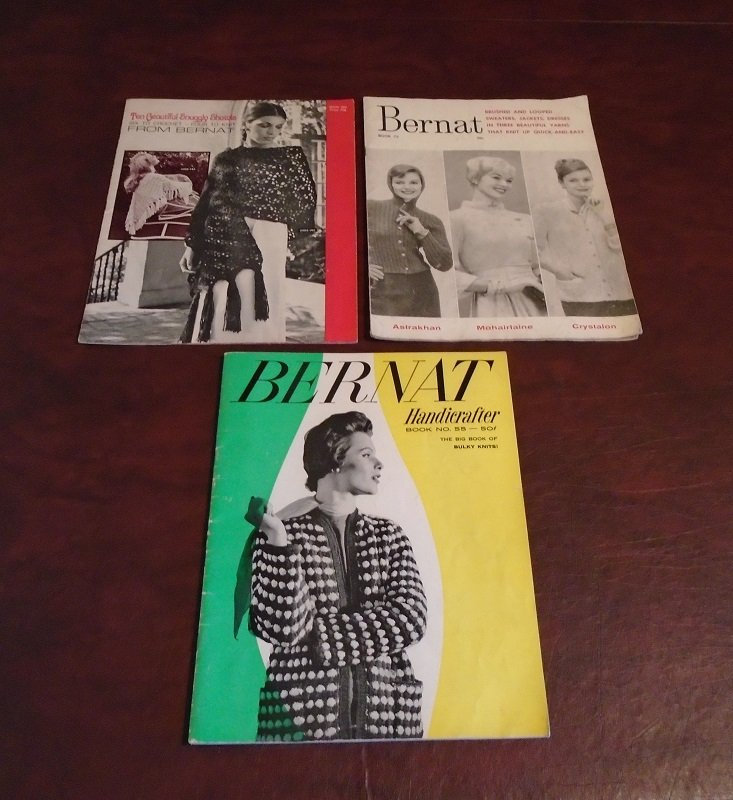 Mid century Knit and Crochet booklets from Bernat Handicrafter. One from each year of 1957, 1959, and 1971. 48 knitting and crocheting projects.