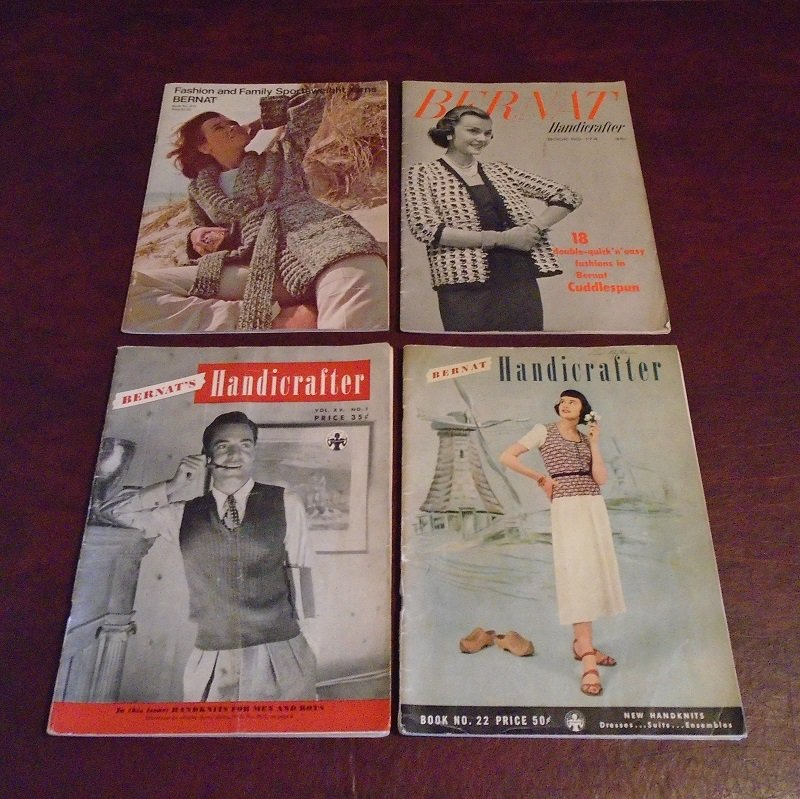 Mid century Knit and Crochet booklets from Bernat Handicrafter. One from each year of 1945, 1949, 1955, and 1974. 113 knitting and crocheting projects