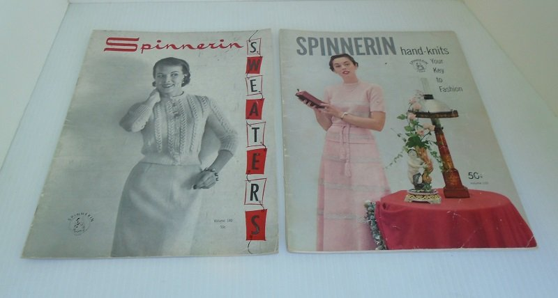 Mid century Knit and Crochet booklets from Spinnerin Hand Knit. One from each year of 1950 and 1957. 37 knitting and crocheting projects