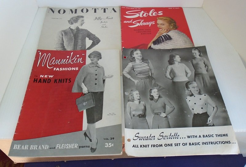 Mid century Knit and Crochet booklets from Mannikin, Nomotta, and others. 4 booklets dating from 1944 to 1957. 37 knitting and crocheting projects.
