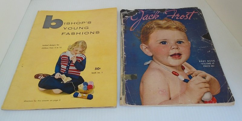 Mid century Knit and Crochet booklets titled Jack Frost and Bishop's. 2 booklets dating from 1940s - 1950s. 63 knitting and crocheting projects.