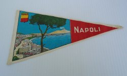 Napoli Italy Small Banner, Pennant Flag circa 1950s to 1960s
