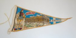 Athens Greece Small Banner Pennant Flag circa 1950s to 1960s
