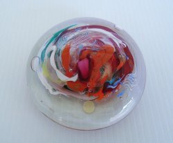 Flat Glass Sphere Paperweight, 4.75x1.5 inch, Swirl Pattern