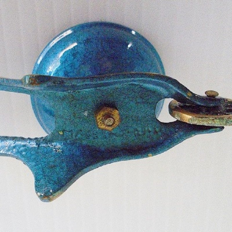 Circa 1950s Blue Enamel Trinket Saccharine Pill box. 3.25 inches long 2.5 inches tall. Front wheel actually rolls. Made in Israel. Excellent condition