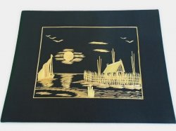 Asian Straw Bamboo Art, Night Time Water Scene, 1950s 1960s
