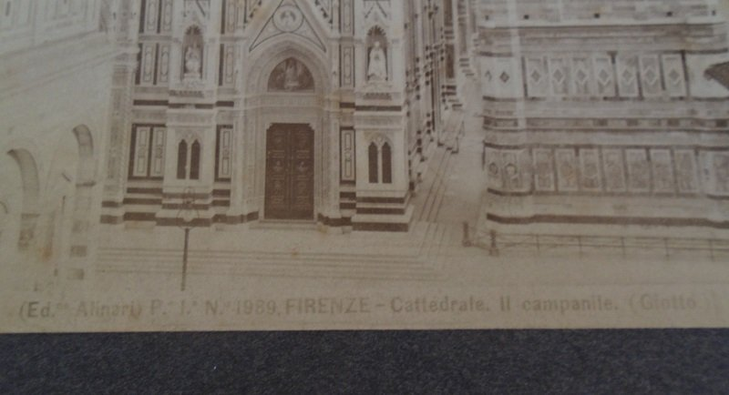 Original 1890 - 1930 print/picture of the Duomo, the Baptistery and Giotto's Campanile in Florence Italy. Antique Fratelli Alinari Giotto.