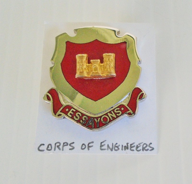 U.S. Army metal and enamel insignia pin for the Corps of Engineers. Marked P23. Has the motto