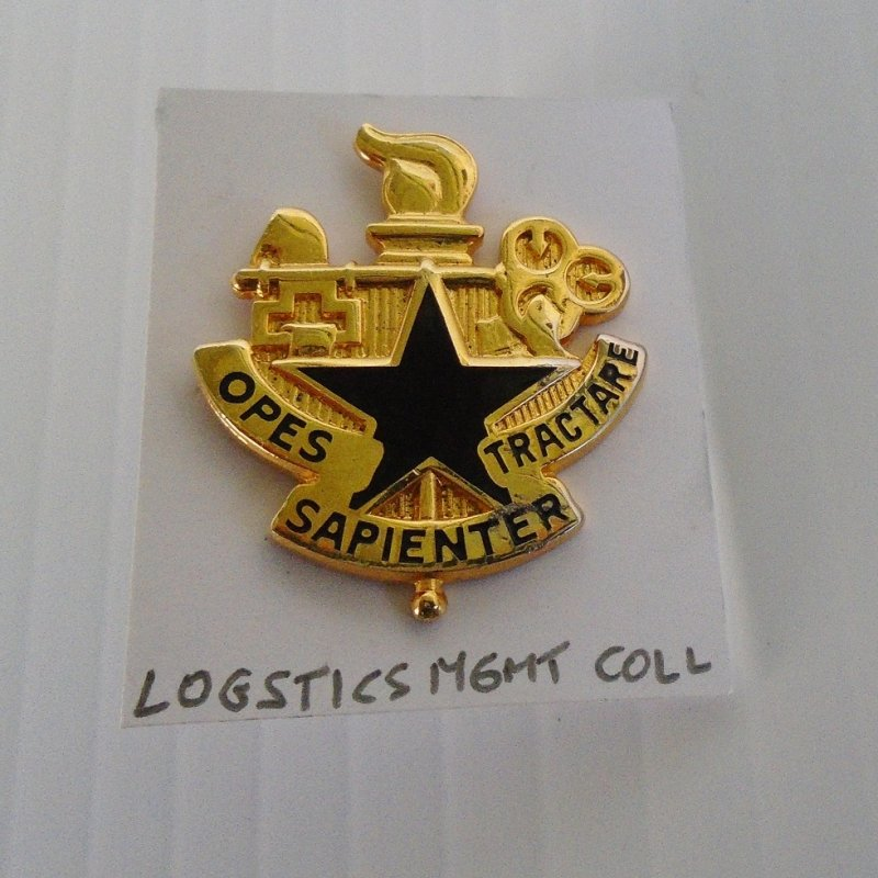 Insignia pin for U.S. Army Logistics Management College. Has the motto