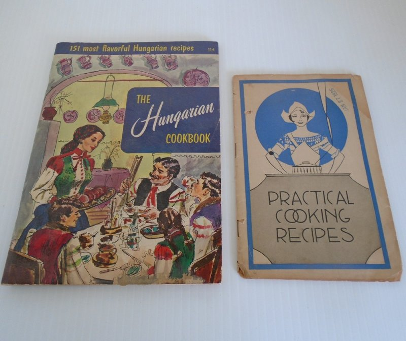 Hungarian Cookbook dated 1954, and Lydia Pinkham's Practical Cooking Recipes Vegetable Compound For Woman, stamped 1926.