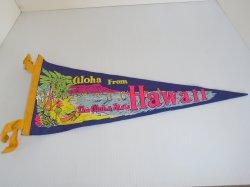 Aloha From Hawaii Felt Banner Pennant Flag, 1950s - 1970s